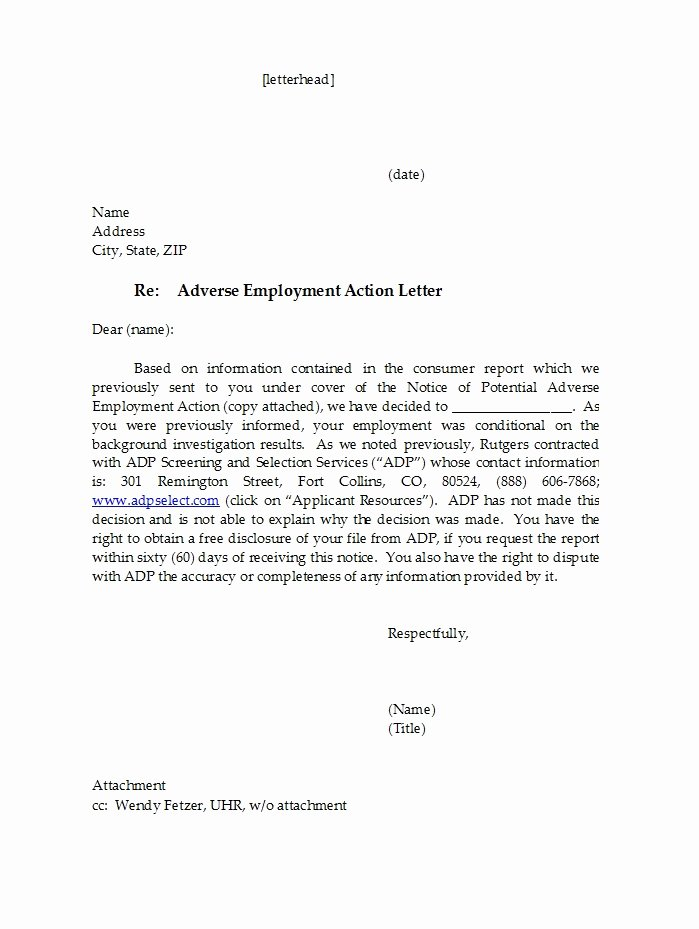 Adverse Action Letter Sample New 50 Free Adverse Action Notices Adverse Action Letters