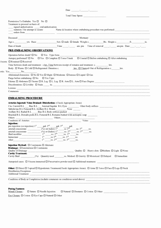 After Death Instructions Template Best Of Embalming Report Printable Pdf