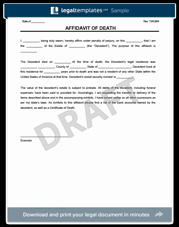 After Death Instructions Template New Affidavit Of Death