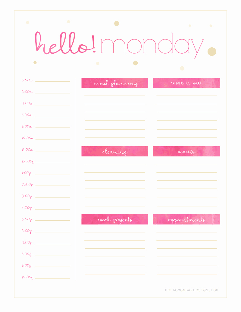 Agenda with Time Slots Beautiful Free Hello Monday Sunday Weekly Planner Printables