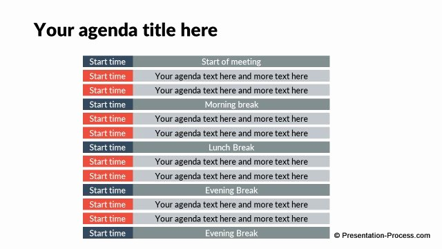 Agenda with Time Slots Elegant Flat Design Templates Powerpoint Opening Slides