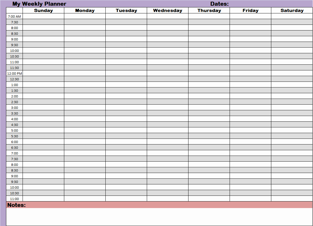Agenda with Time Slots Fresh Weekly Hourly Time Management Sheet Financial