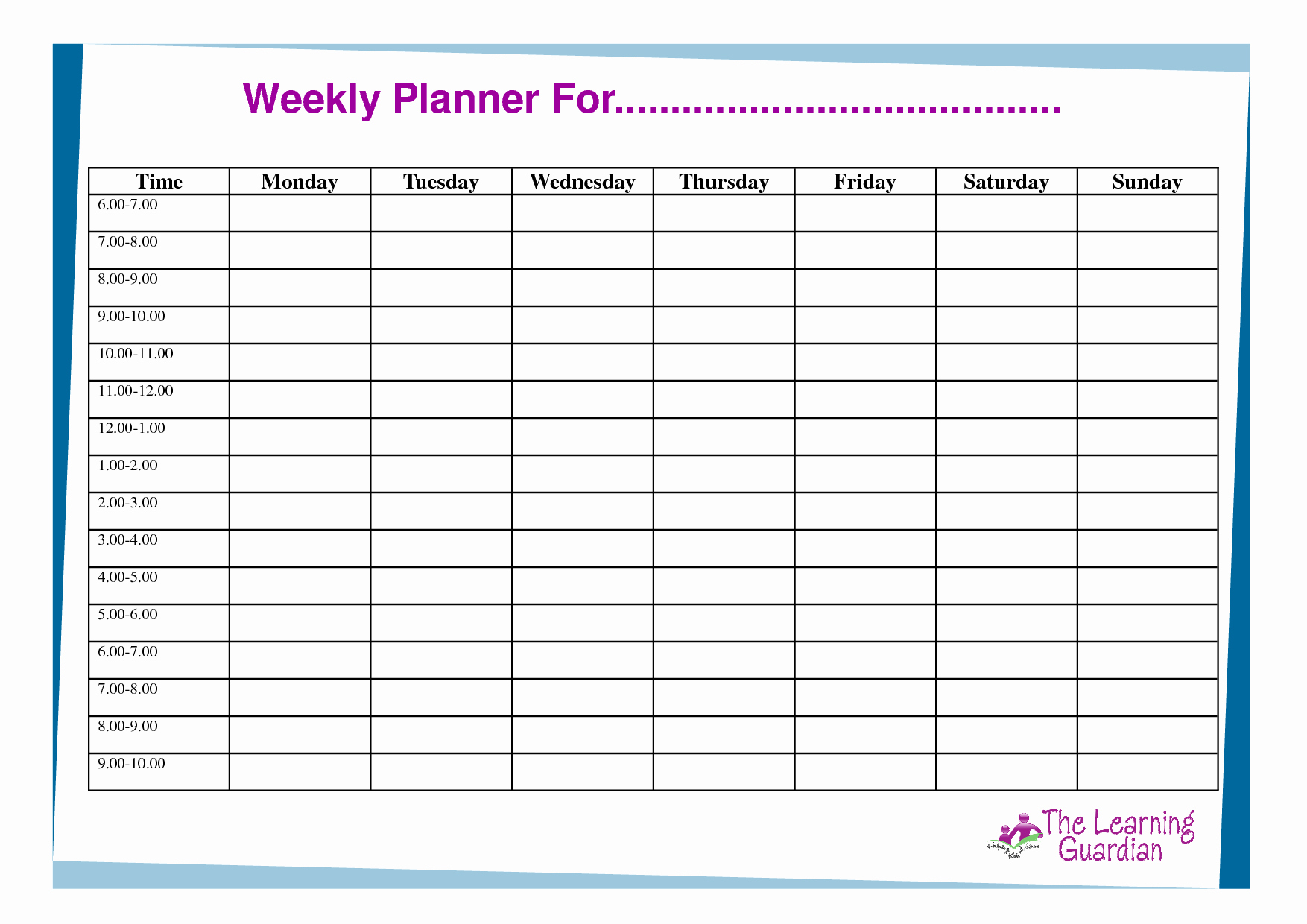 Agenda with Time Slots Inspirational Free Printable Weekly Calendar Templates