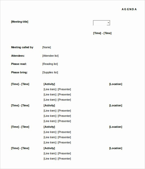Agenda with Time Slots New 50 Meeting Agenda Templates Pdf Doc