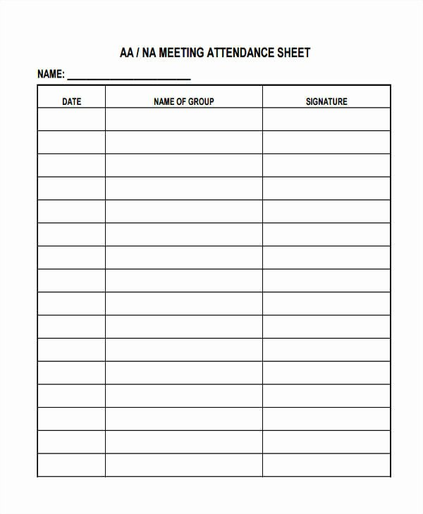 Alcoholics Anonymous attendance form Best Of 9 attendance Sheet Templates Free Sample Example