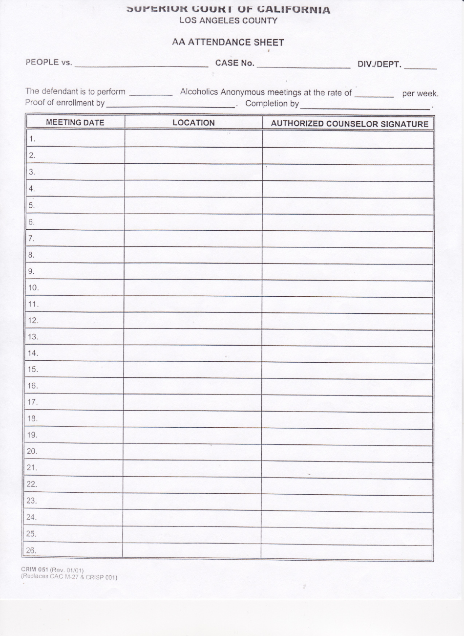 Alcoholics Anonymous attendance form Best Of Aa attendance Sheet Template Printable Pdf