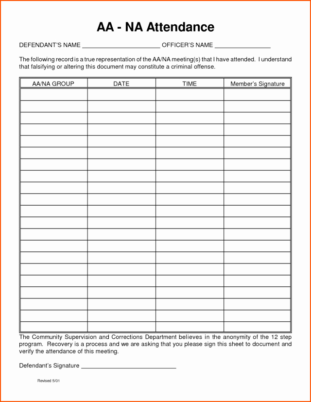 Alcoholics Anonymous attendance form Fresh Aa Meeting attendance Sheet Free Download Aashe