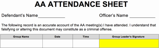 Alcoholics Anonymous attendance form New Alcoholics Anonymous Aa Sign In attendance Sheet