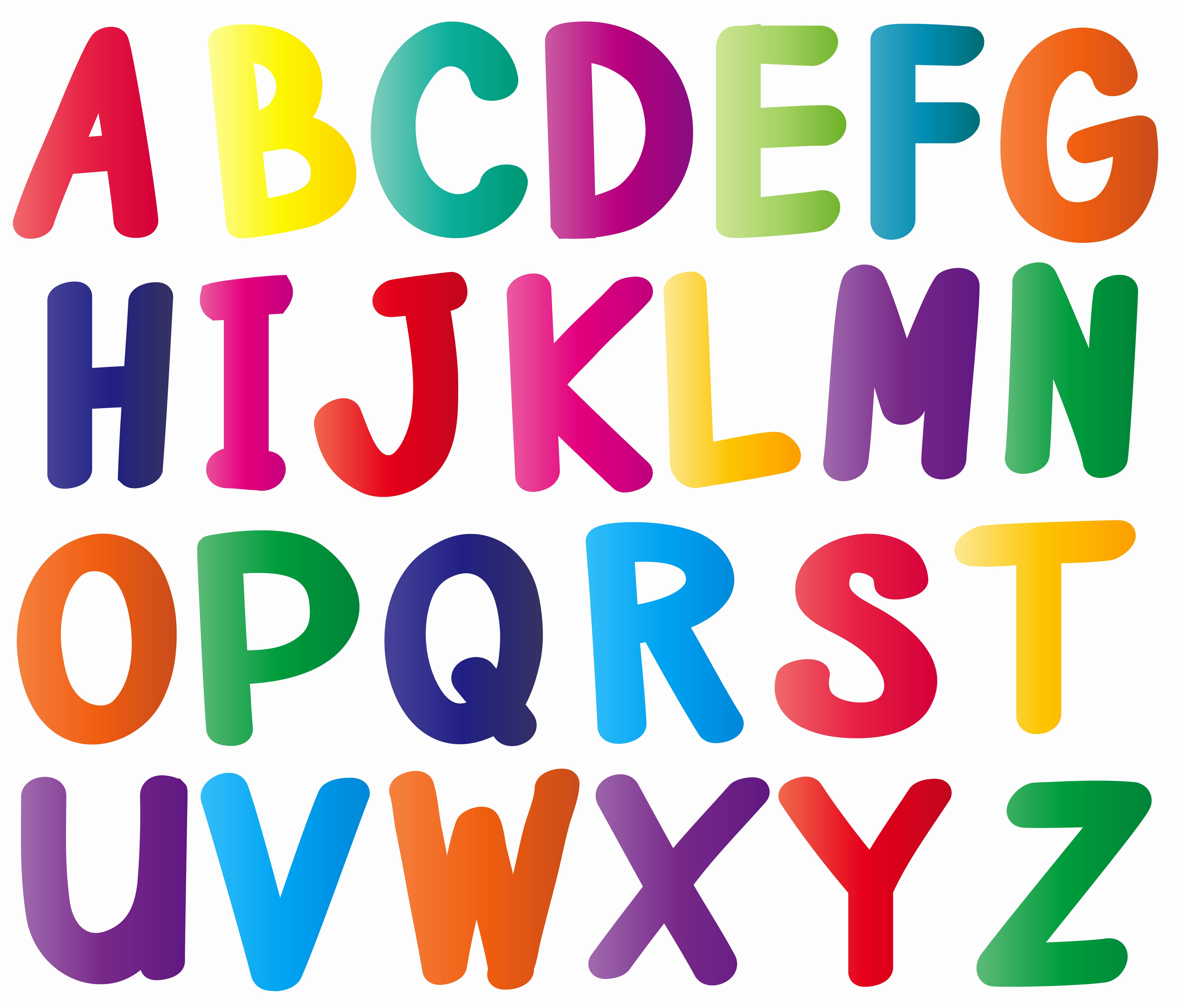 Alphabet Letters with Pictures Unique English Alphabets In Many Colors Download Free Vector