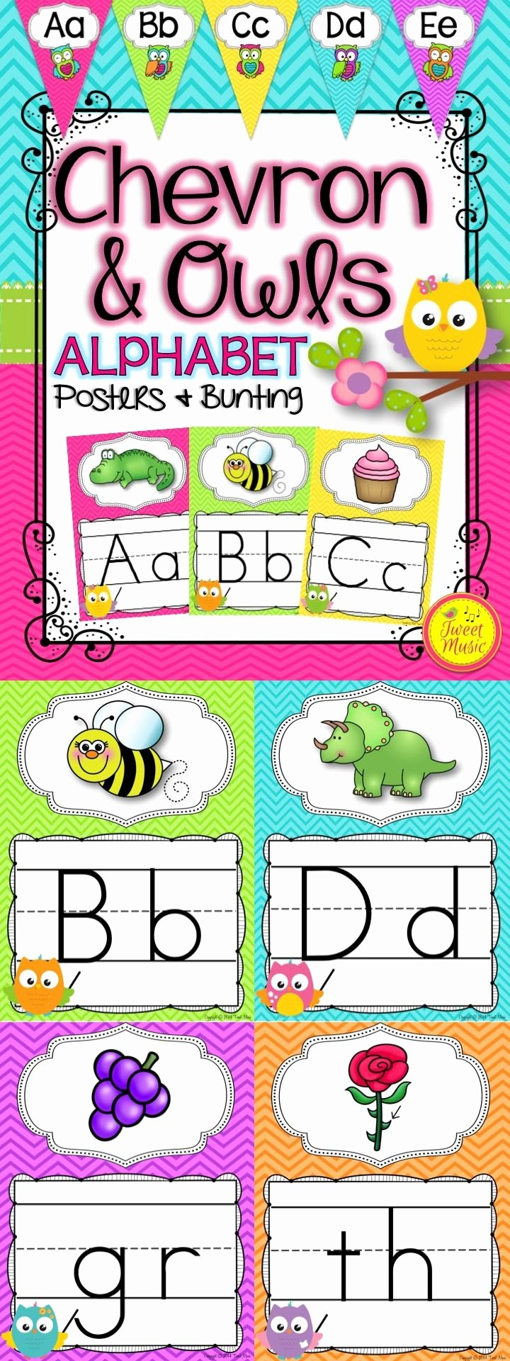 Alphabet Poster for Classroom Beautiful Alphabet Posters and Bunting In An Owls and Chevron Decor