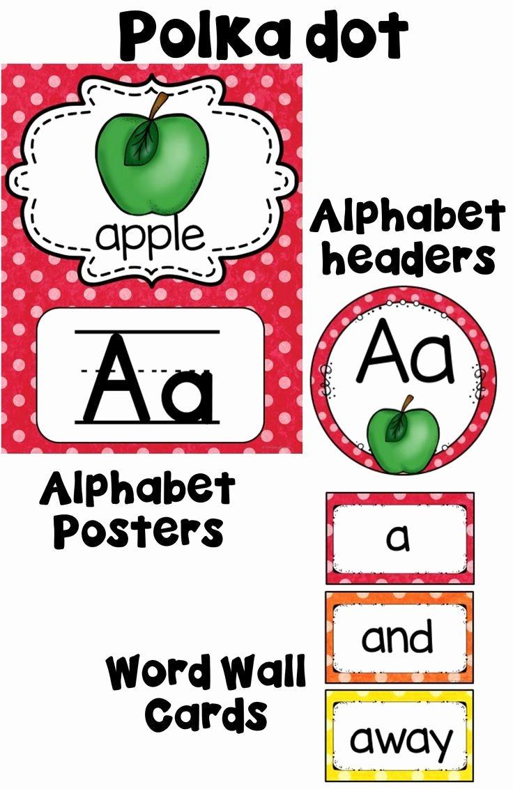 Alphabet Poster for Classroom Elegant Alphabet Posters Polka Dot Classroom Decor