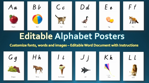 Alphabet Poster for Classroom Lovely Editable Alphabet Posters by Innovativeteachingideas