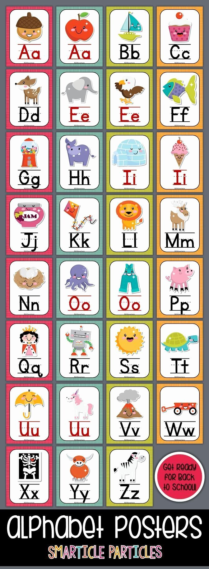 Alphabet Poster for Classroom Luxury Alphabet Posters Kawaii Style