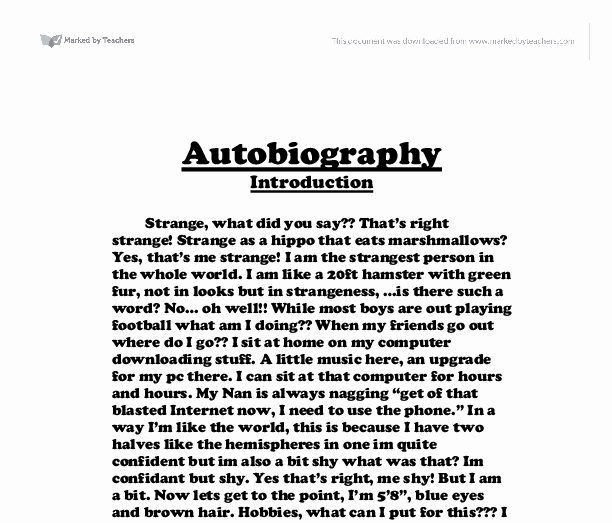 An Example Of An Autobiography New Autobiography Creative Writing Gcse Music Marked by
