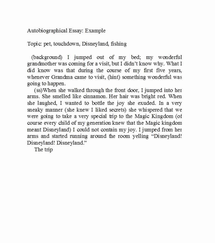 An Example Of An Autobiography Unique 40 Autobiography Examples Autobiographical Essay