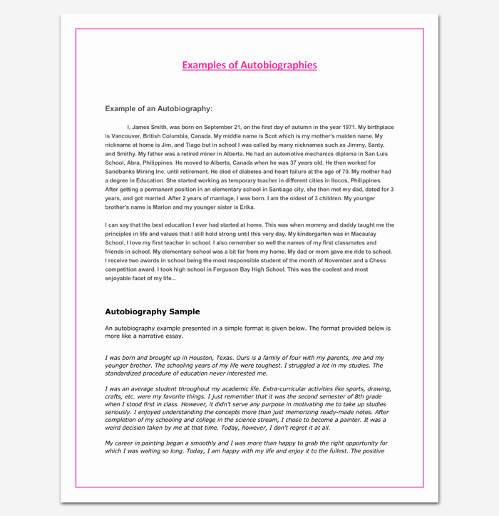 An Example Of An Autobiography Unique Autobiography Outline Template 23 Examples and formats