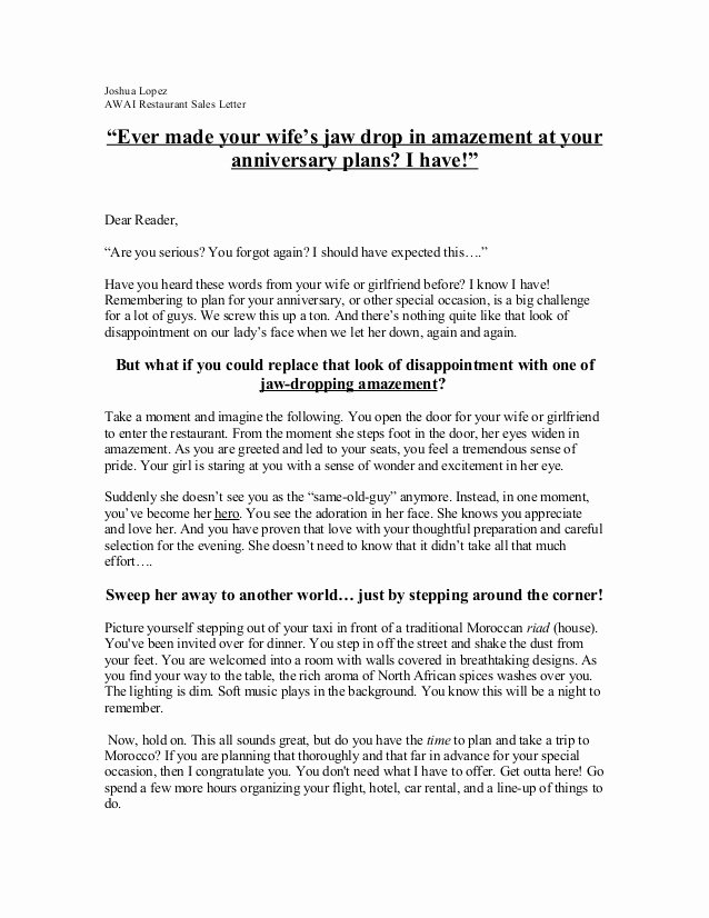 Anniversary Letter to Wife Lovely Josh S Restaurant Sales Letter
