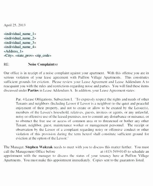 Apartment Noise Complaint Letter Best Of Plaint Letter Against Neighbour