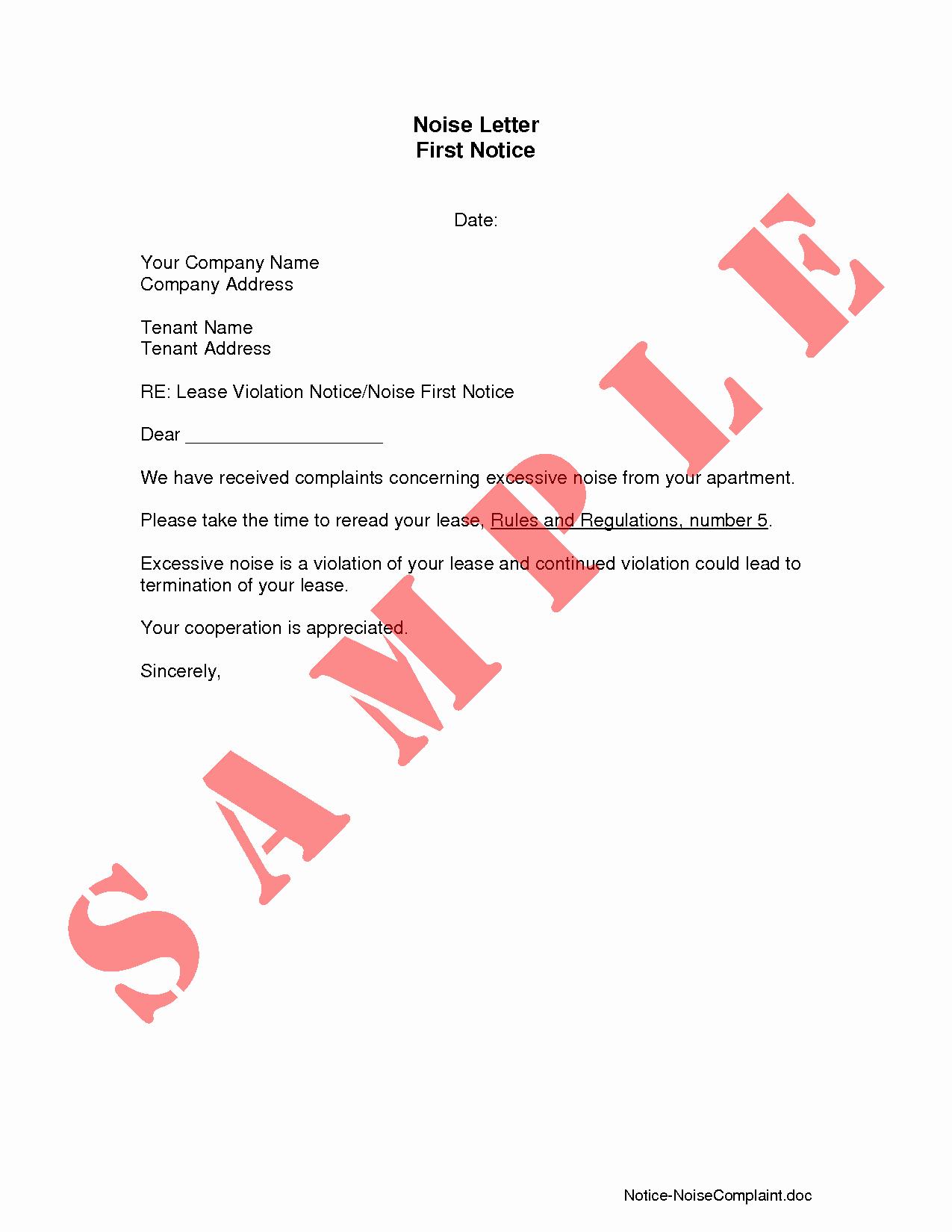 Apartment Noise Complaint Letter Fresh Best S Of Pennslyvania Tenant Violation Letter Sample