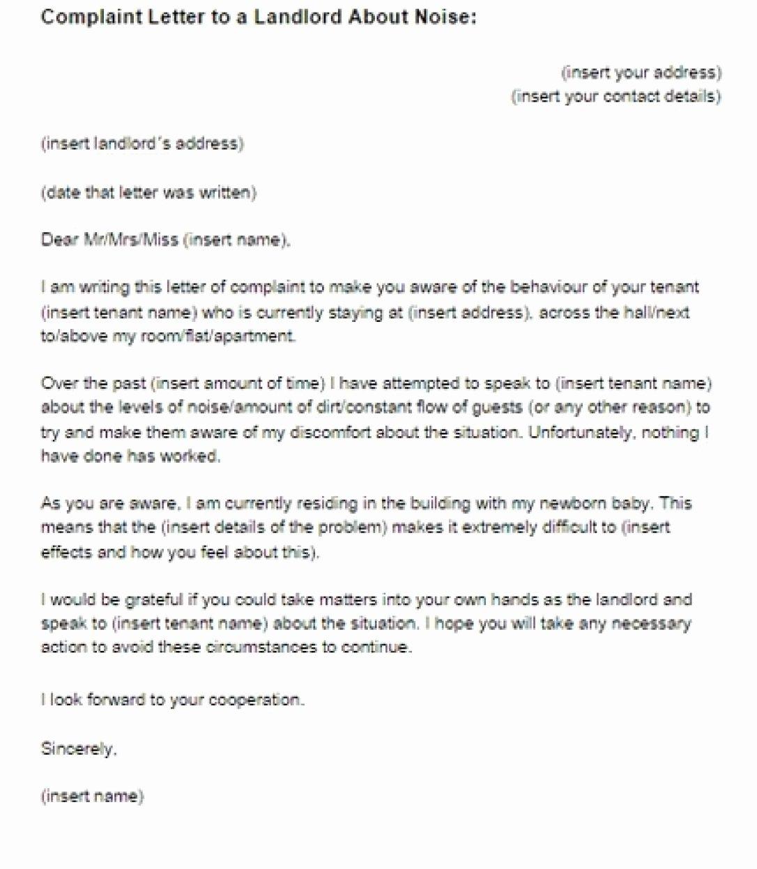 Apartment Noise Complaint Letter Unique Tenant Noise Plaint Letter Efficient Petition Template