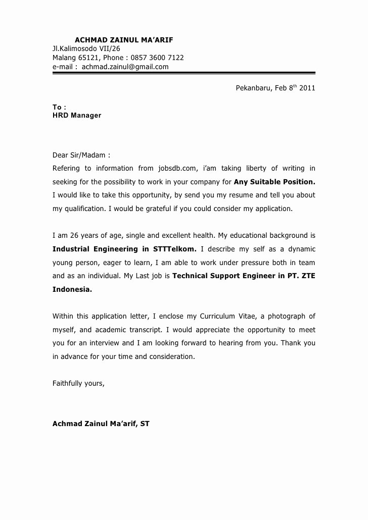 Application for A Job Letter Inspirational Job Application Letter Yours Faithfully