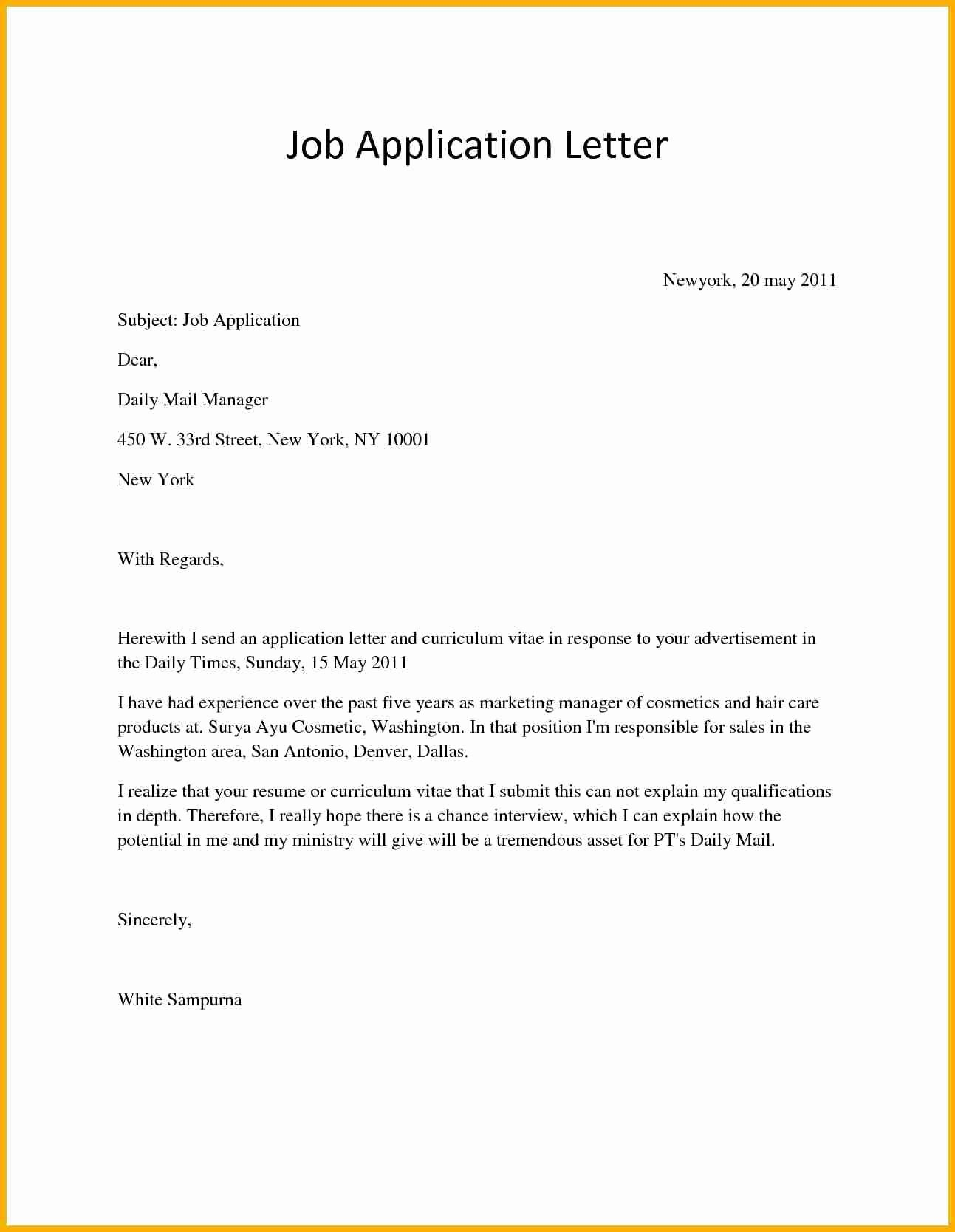 Application for A Job Letter Lovely Application Letter for Job Vacancy Bursary Cover Example