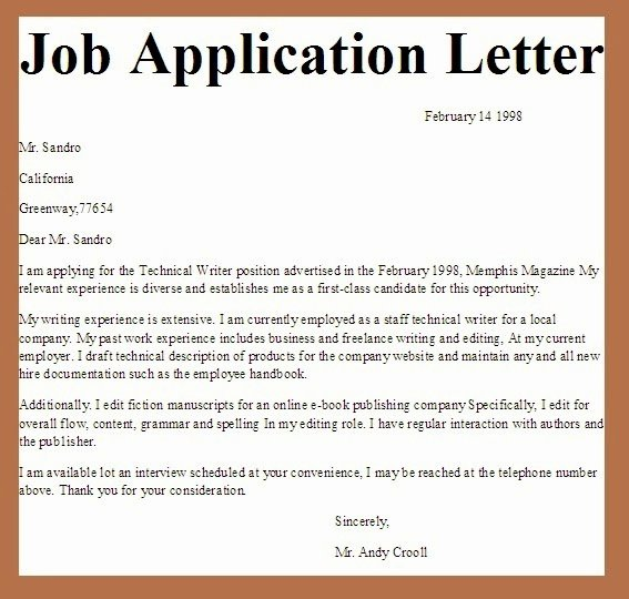 Application for A Job Letter Lovely Business Letter Examples Job Application Letter