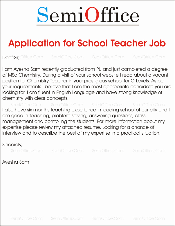 Application for A Position Elegant Application for School Teacher Job Free Samples