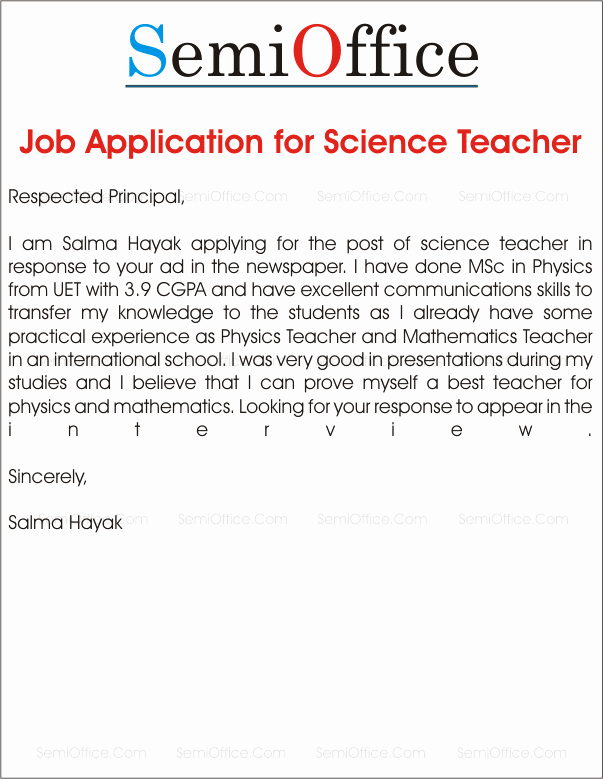 Application for A Position Elegant Job Application for School Teacher Job Samples
