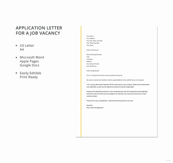 Application for A Position Elegant Job Application Letter for Engineer 11 Free Word Pdf