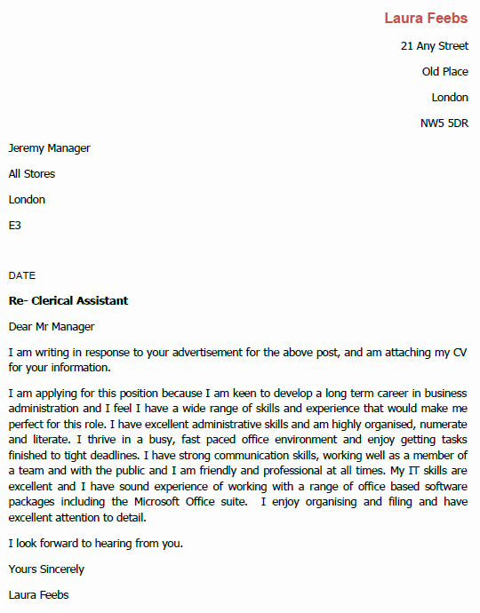 Application for A Position Inspirational Job Application Letter for Clerical assistant Lettercv