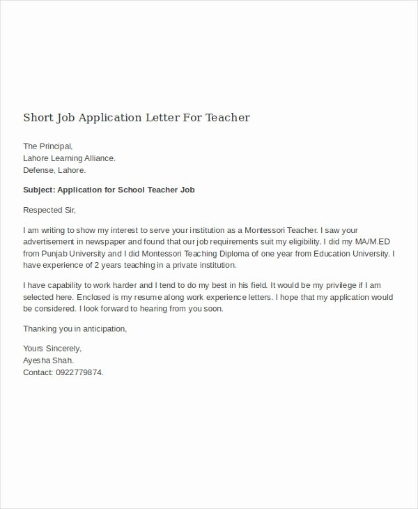Application for A Position Lovely 16 Job Application Letter for Teacher Templates Pdf