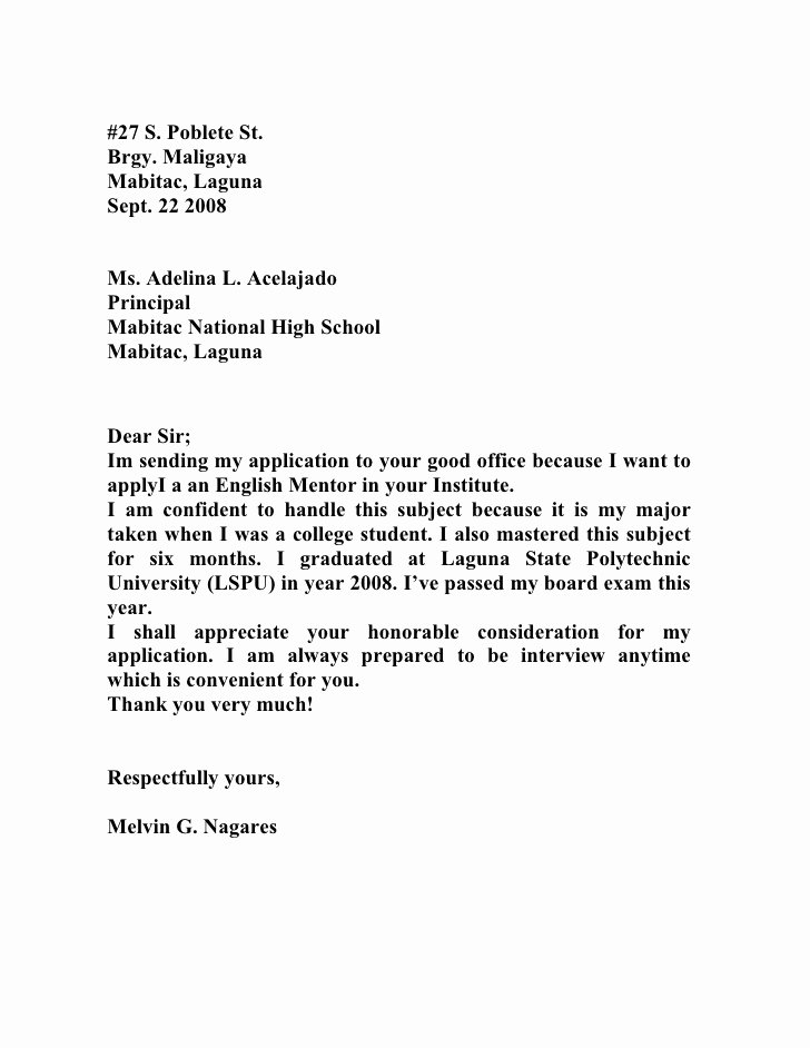 Application for A Teacher Job Elegant Melvins Application Letter