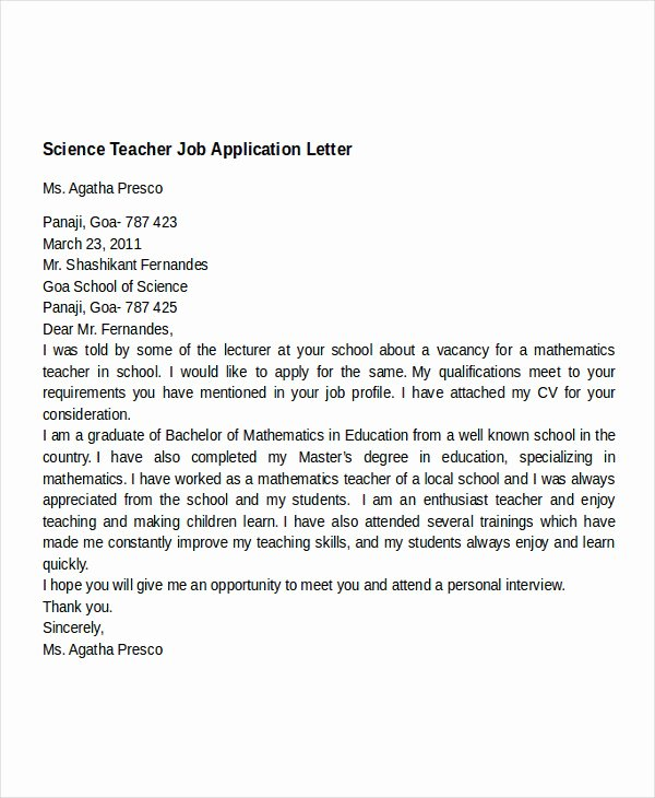 Application for A Teacher Job Inspirational 16 Job Application Letter for Teacher Templates Pdf