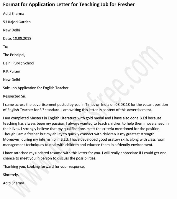 Application for A Teacher Job Luxury Application Letter for Teacher Job for Fresher Teacher