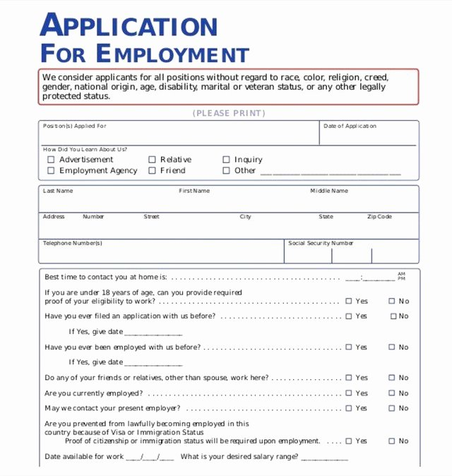 Application for Employment Free Awesome the Importance Of Employment Application Pdf Free Job