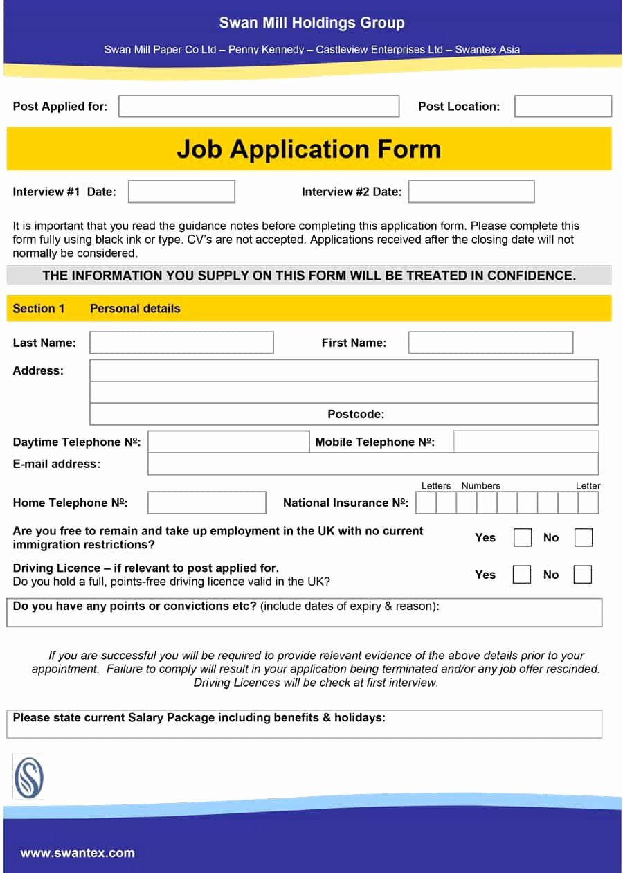 Application for Employment Free Elegant 50 Free Employment Job Application form Templates