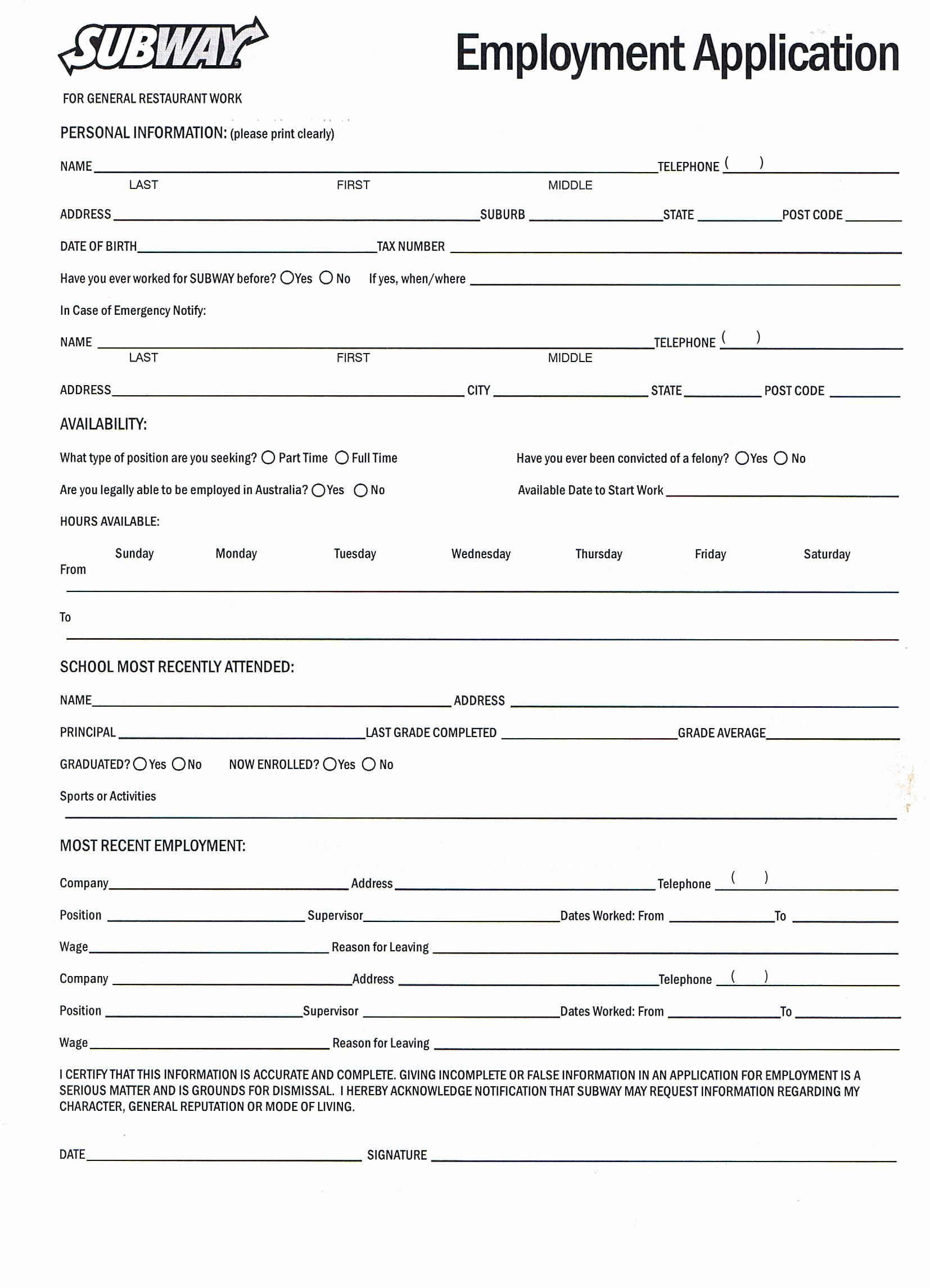 Application for Employment Free Fresh Printable Job Application forms Online forms Download and