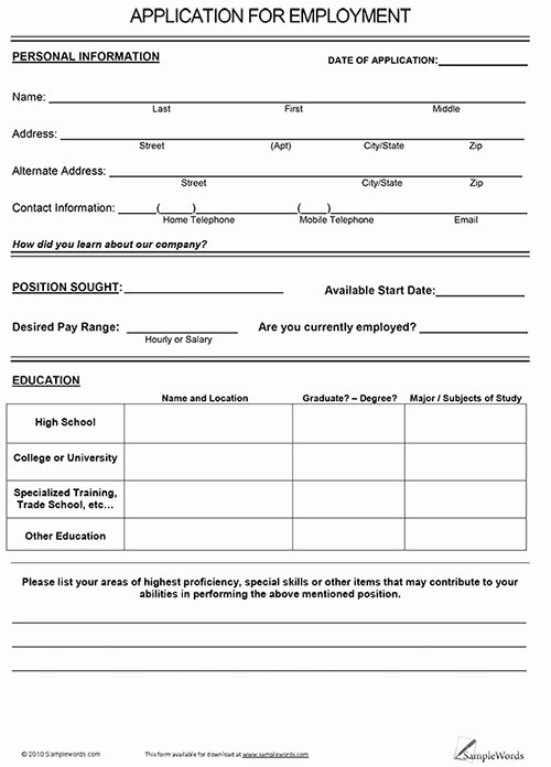 Application for Employment Free Lovely Free Application for Employment Free Printable Documents