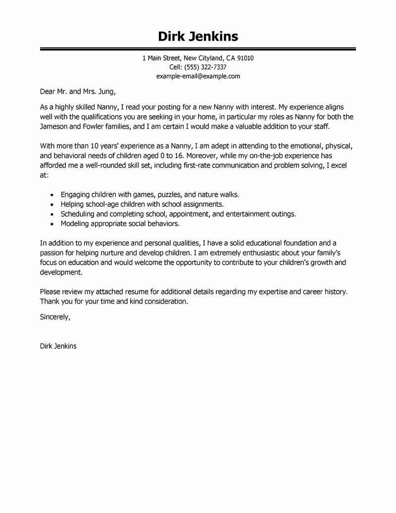 Application for Nanny Position Beautiful Best Nanny Cover Letter Examples