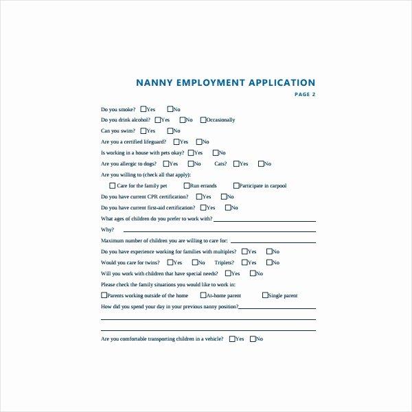 Application for Nanny Position Unique 6 Nanny Application form Templates Pdf