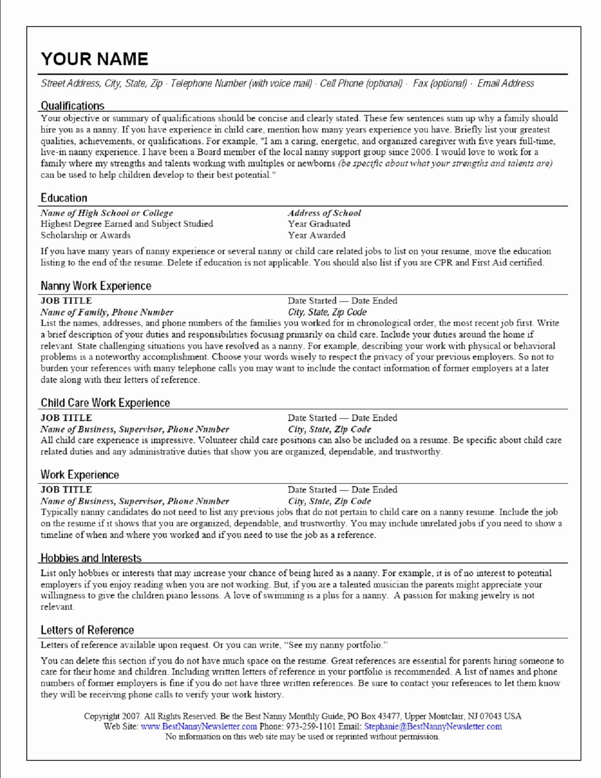 Application for Nanny Position Unique Creating A Nanny Resume