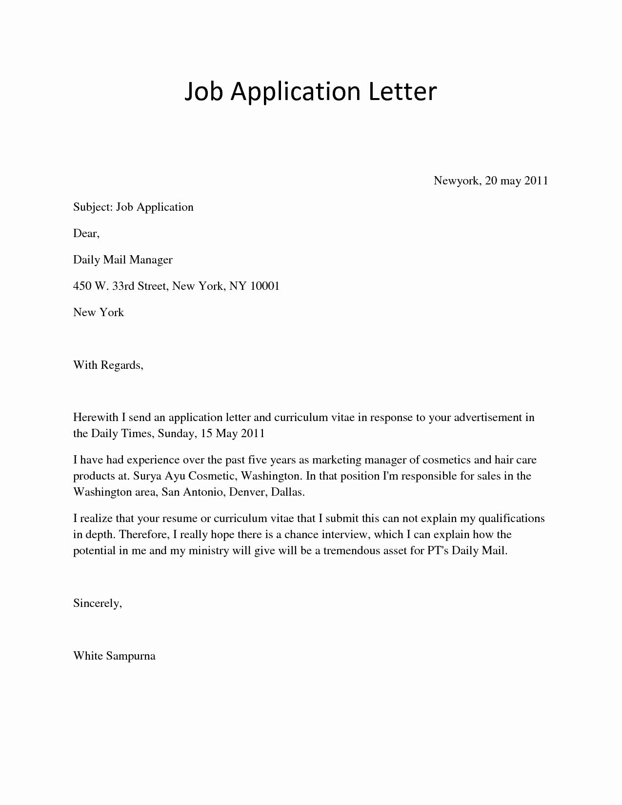 Application Letter for Job Inspirational Cover Letter Template Ngo Job Application