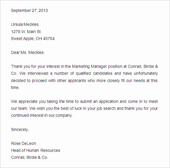Application Rejection Letter Template Beautiful 27 Rejection Letters Template Hr Templates