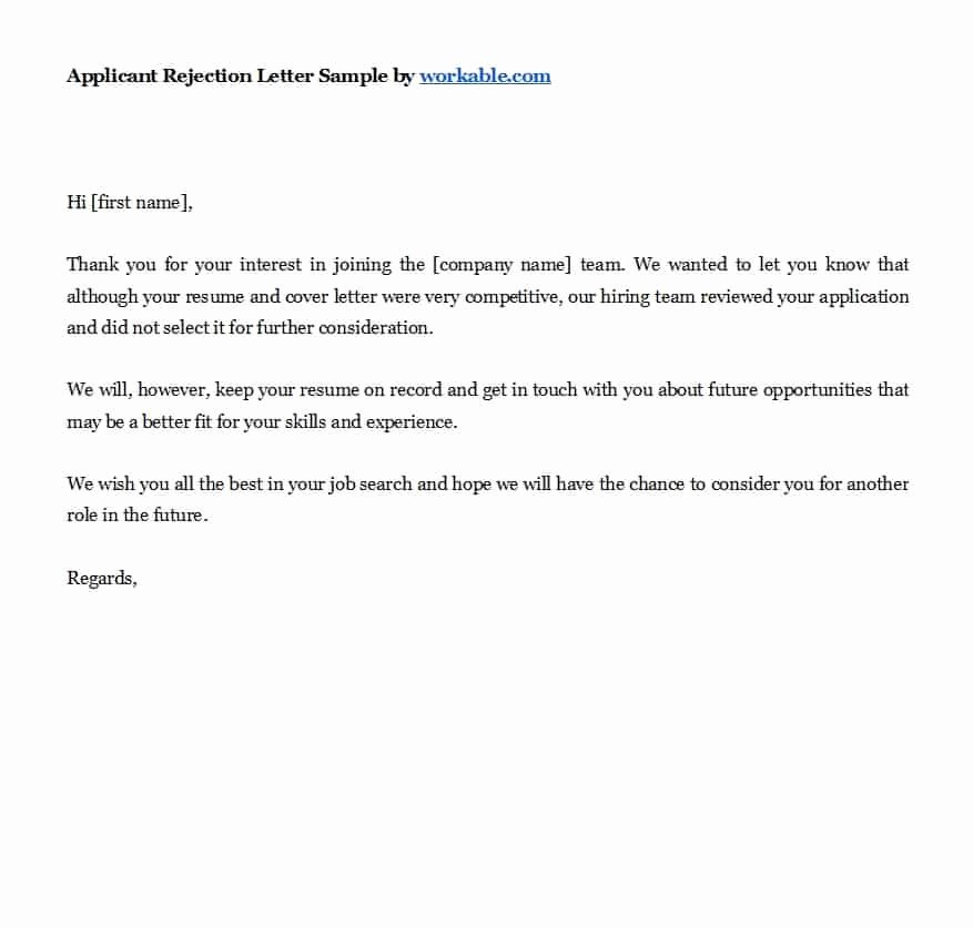 Application Rejection Letter Template Beautiful 39 Job Rejection Letter Templates & Samples Template Lab