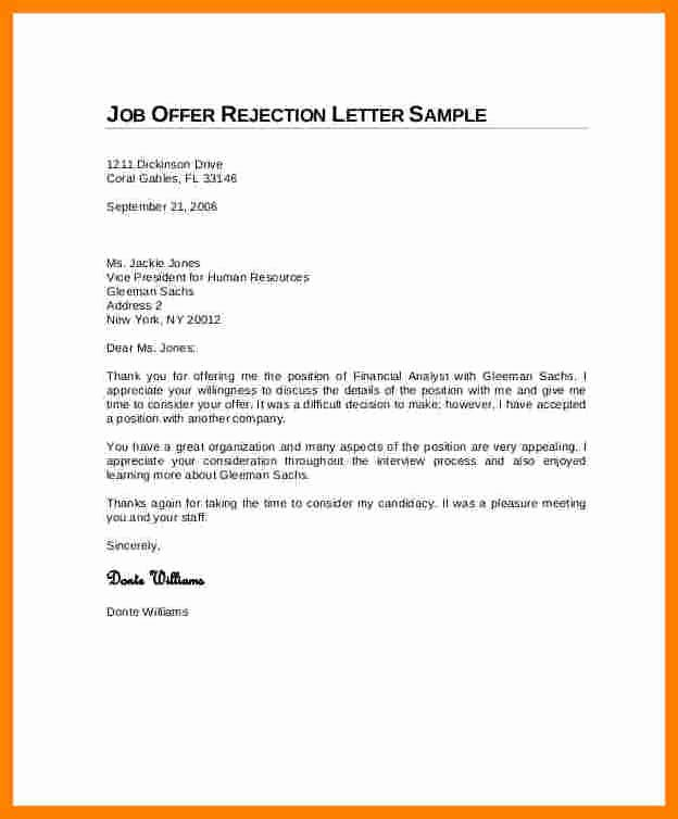 Application Rejection Letter Template Best Of 5 Job Applicant Rejection Letter