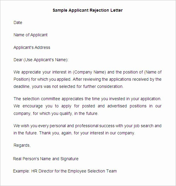 Application Rejection Letter Template Fresh 27 Rejection Letters Template Hr Templates