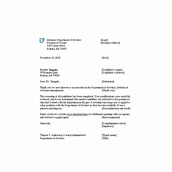 Application Rejection Letter Template Inspirational Letter for Rejecting Job Applicants Notes and Example to
