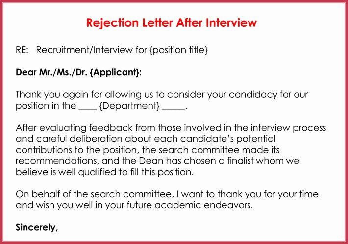 Application Rejection Letter Template Inspirational Rejection Letters 20 Free Samples & formats for Hr