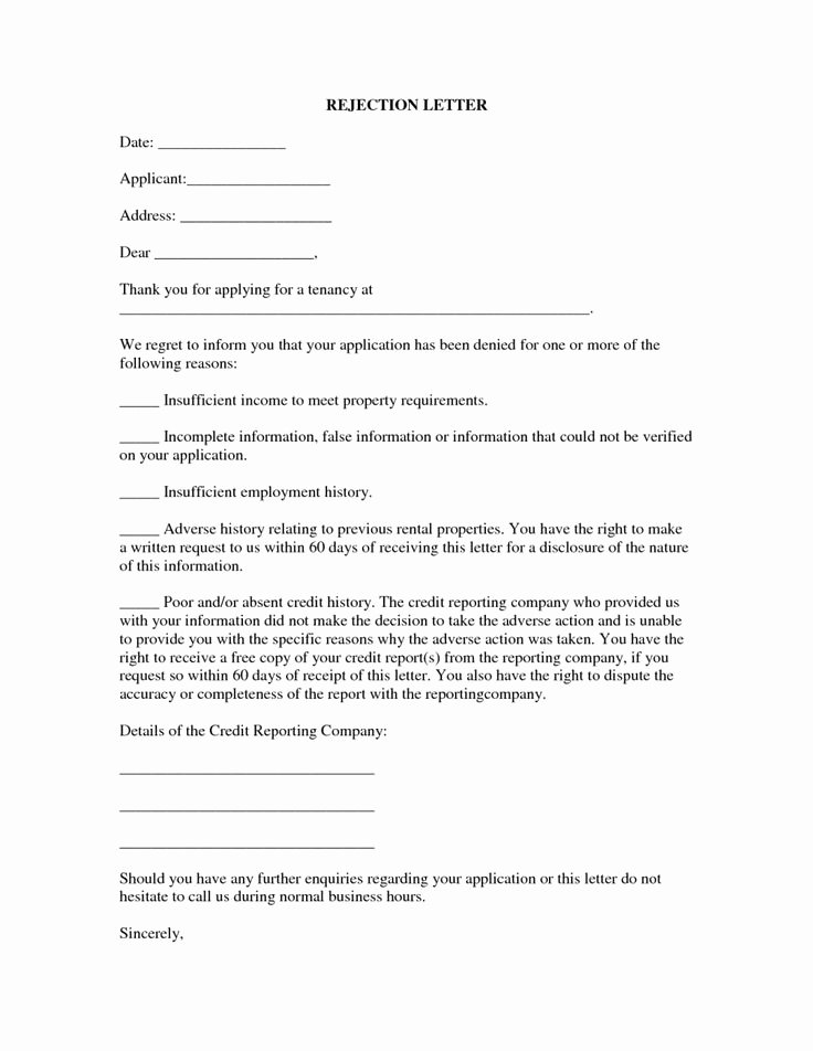 Application Rejection Letter Template Lovely 13 Best Rental Application Rejection Letter 5